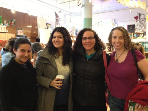 4 culry-haired young adult authors (L to R: Gina Damico, Zoraida Cordova, Hilary Weisman Graham, Sarah Beth Durst)