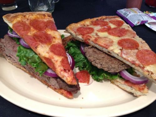 Spoiler alert: this pizza burger is not the murderer.